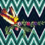与花玫瑰热带葡萄酒印刷品的手拉的鸟飞行, 库存图片