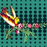 与花玫瑰热带葡萄酒印刷品的手拉的鸟飞行, 库存照片