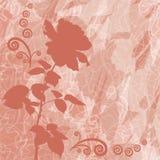 与花玫瑰色剪影的假日背景 免版税库存图片