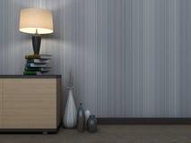 与花瓶和灯的空的内部 3d例证 免版税库存照片