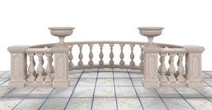 与花瓶的半圆楼梯栏杆-例证3D翻译 库存例证