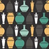 与花瓶的Stylih无缝的样式 向量例证