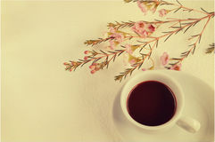 与花甜点口气的咖啡 免版税库存照片