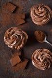 与花生酱的巧克力杯形蛋糕 库存照片