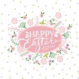 与花的五颜六色的愉快的复活节贺卡 免版税库存图片