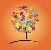 与花的五颜六色的结构树 免版税库存照片