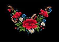 与花的刺绣针 免版税库存照片