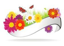 与花的可爱的背景 免版税库存图片