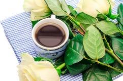 与花的咖啡 库存照片