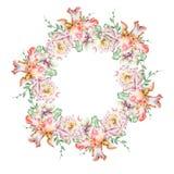 与花的圆的水彩花束 虹膜 罗斯 兰花 例证 库存照片