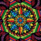 与花的坛场圆装饰在种族样式的装饰品和叶子打印样式例证 免版税库存图片