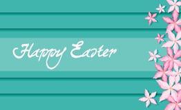 与花的复活节横幅 免版税库存图片