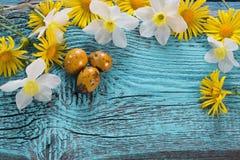 与花的复活节背景 库存图片