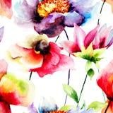 与花的夏天无缝的样式 免版税库存照片