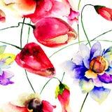 与花的夏天无缝的样式 免版税图库摄影