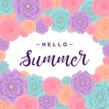 与花的夏天背景,在`你好夏天`上写字 也corel凹道例证向量 免版税库存照片