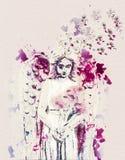 与花的天使 当代艺术 免版税库存图片