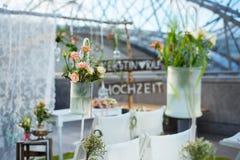 与花的婚礼装饰 库存图片