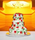 与花的婚宴喜饼 库存照片