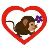 与花的小的滑稽的猴子 皇族释放例证