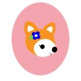 与花的小的狐狸 免版税库存图片