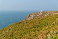 与花的峭壁和在Frehel海角的老塔  britte 免版税库存图片