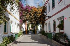与花的庭院曲拱 免版税库存图片