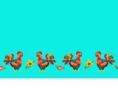 与花的彩色塑泥雄鸡无缝的边界 免版税库存图片