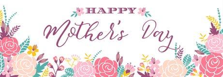 与花的愉快的母亲节字法问候横幅 库存图片