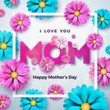 与花的愉快的母亲节贺卡设计和在干净的背景的印刷元素 我爱你妈妈传染媒介 皇族释放例证