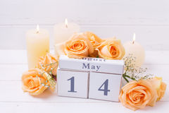 与花的愉快的母亲节5月14日背景 免版税库存照片