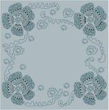 与花的手拉的样式框架 向量例证