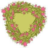 与花的手拉的葡萄酒花圈 图库摄影