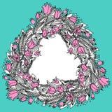 与花的手拉的葡萄酒花圈 免版税库存图片