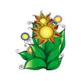 与花的手拉的装饰品在乱画样式 背景细部图花卉向量 贺卡,邀请,横幅 也corel凹道例证向量 库存图片