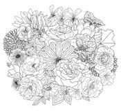 与花的抽象收藏在彩图和装饰设计的,婚礼,贺卡乱画样式 书页 库存图片