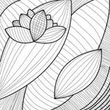 与花的抽象背景,黑白 免版税库存图片
