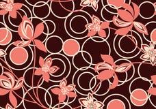 与花的无缝的几何圆的背景 向量例证