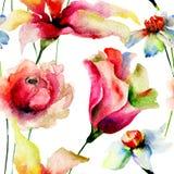 与花的无缝的墙纸 库存照片
