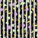 与花的无缝的抽象样式装饰纹理背景 向量例证
