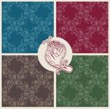 与花的无缝的样式以手和分支的形式与叶子 免版税库存图片