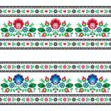 与花的无缝的波兰民间样式