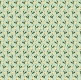 与花的无缝的绿色纹理 免版税图库摄影