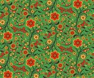 与花的无缝的花卉样式在Hohloma样式 免版税库存图片