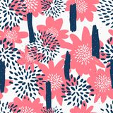 与花的无缝的重复样式在白色背景的蓝色和粉红彩笔 织品,缎带包装,墙壁艺术设计 图库摄影