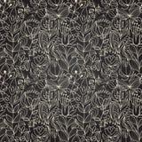 与花的无缝的黑暗的纹理 向量例证