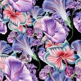 与花的明亮的无缝的样式 兰花 喇叭花 额嘴装饰飞行例证图象其纸部分燕子水彩 免版税库存照片