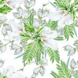 与花的明亮的无缝的样式 冬葵 丝兰 额嘴装饰飞行例证图象其纸部分燕子水彩 库存照片