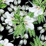 与花的明亮的无缝的样式 冬葵 丝兰 额嘴装饰飞行例证图象其纸部分燕子水彩 库存图片