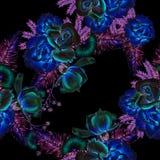 与花的明亮的无缝的样式 叶子 罗斯 额嘴装饰飞行例证图象其纸部分燕子水彩 图库摄影